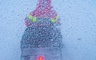 Sneeuwscooter ophaalactie.